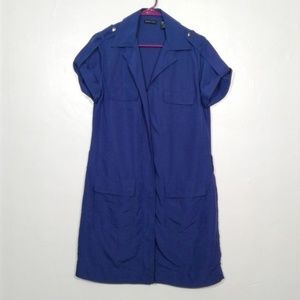 New York and company blue zip front shift dress
